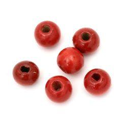 Мънисто дърво топче 11x12 мм дупка 4 мм червено -50 грама ~ 95 броя
