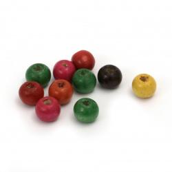 Мънисто дърво топче 8x9 мм дупка 3 мм МИКС -50 грама ~220 броя
