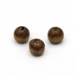 Мънисто дърво топче 13x14 мм дупка 4 мм кафяво -50 грама ~60 броя