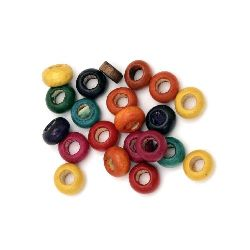Wooden washer beads 6x10 mm hole 4.5 mm mix - 20 grams ~ 110 pieces