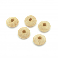Wooden washer  bead for decoration14x8 mm hole 4 mm wood color -10 pieces