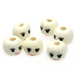 Wooden ball bead with smile 10 mm hole 3 mm color wood - 50 pieces
