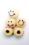 Wooden ball bead with smiling face for doll making 10 mm wood color - 50 pieces