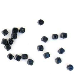 Wood Beads, Cube, Black, 6mm, hole 2mm, 50 grams ~ 433 pcs
