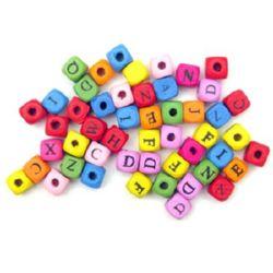 Κύβος με γράμματα, χάντρα, ξύλο 10x10 mm μίξη χρωμάτων -20 γραμμάρια ~ 40 τεμάχια