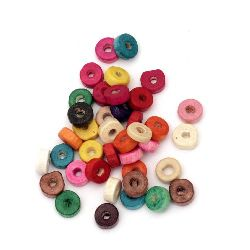 Wooden washer beads 8x3 mm hole 3 mm mix - 20 grams ~ pieces