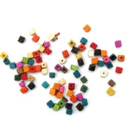 Wood Beads, Cube, Mixed Colors, 5mm, 20 grams
