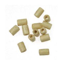 Мънисто дърво цилиндър 6x4 мм дупка 1.5~2 мм цвят дърво -20 грама ~420 броя