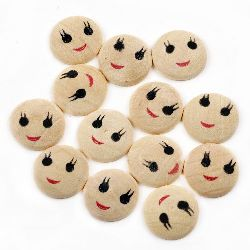 Natural Unfinished Wooden Face, Flat, Round, Smile18x4 mm - 50 pieces