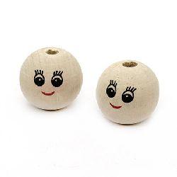 Κεφάλι με χαμόγελο, στρόγγυλο, χάντρα, ξύλο 24x23 mm τρύπα 5 mm -10 κομμάτια