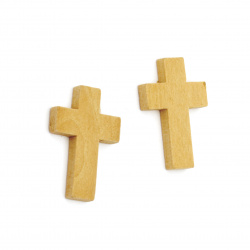 Wooden Pendant, Cross, Unfinished 33x24x4 mm, hole 1 mm - 10 pieces