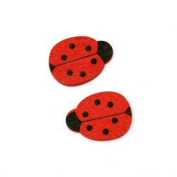 Wooden Ladybug figurine 20x18x2.5 mm cabochon type - 10 pieces