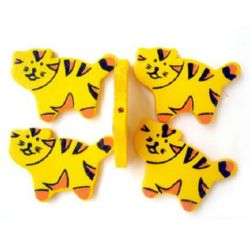 Natural Wooden Beads, Tiger, Dyed, Yellow 30x42x4 mm - 20 grams 10 pieces