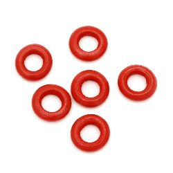 Wooden ring beads 15x4 mm hole 7 mm red - 20 grams ~ 60 pieces