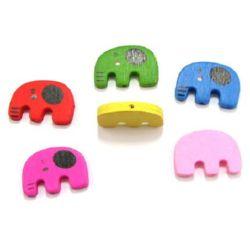 Margele din lemn in forma elefant 31 mm MIX -20 grame ~ 17 bucăți