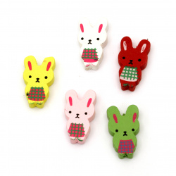 Natural Wooden Beads, Bunny, Dyed, Assorted colors 30x17 mm - 5 pieces