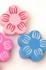 Natural Wooden Beads, Flower, Dyed, Assorted colors 20x6 mm - 20 grams ~ 20 pieces