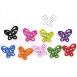 Wooden pendants butterfly, Dyed, Assorted colors 27x25 mm  - 10 pieces