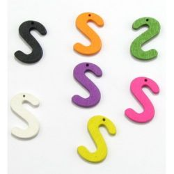 Colorful wooden pendant letters 24 mm colored - 1 piece