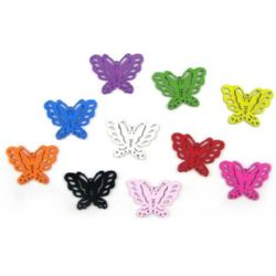 Wooden pendant butterfly, Dyed, Assorted colors 33 mm - 10 pieces