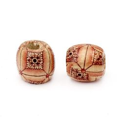 Wooden Beads, Round with Printed Pattern  16x17 mm, hole 7 mm painted - 50 grams ~ 33 pieces