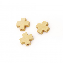Wooden Bead cross 15x15x5mm hole 2mm - 10 pieces