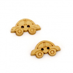 Car wooden button 20x11x3.5 mm hole 1 mm wood color - 20 pieces