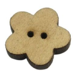 Flower shaped wooden button 16x16x2.5 mm hole 2 mm color wood - 20 pieces