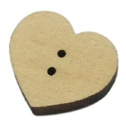 Heart wooden button 12x11x3 mm hole 1.2 mm wood color - 20 pieces