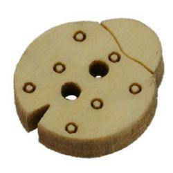 Копче дърво калинка 14x17x4 мм дупка 2 мм - 20 броя