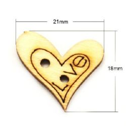 Heart wooden button 18x21x2 mm hole 2 mm - 20 pieces