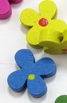 Natural Wooden Beads, Flower, Dyed, Assorted colors 15x5 mm - 20 grams