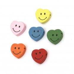 Natural Wooden Beads, Smiling Heart, Dyed, Assorted colors 16x18x6 mm - 10 pieces