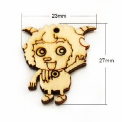 Pendant wooden sheep 27x23x2 mm hole 2 mm color wood - 10 pieces