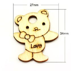 Wooden pendant in bear shape 34x27x2 mm hole 4.5 mm - 20 pieces
