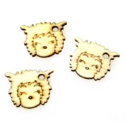 Wooden Pendant Sheep 19x15x2 mm hole 2 mm - 20 pieces