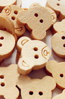 Bear's head shaped wooden button 11x13 mm hole 1 mm wood color  - 10 pieces