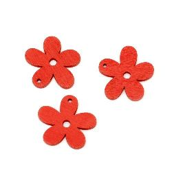 Wooden pendant flower 30x3 mm red - 10 pieces