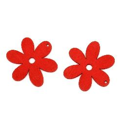 Wooden pendant flower  flower 40x2 mm red - 10 pieces
