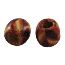 Wooden Beads, Round with Printed Pattern  16x17 mm, hole 6 ~ 8 mm painted - 50 grams ~ 30 pieces