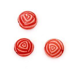 Χάντρα τριαντάφυλλο 8x6 mm τρύπα 1 mm κόκκινο - 50 γραμμάρια