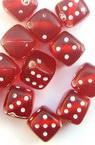 Χάντρα ζάρι 9 mm τρύπα 1,5 mm κόκκινο /λευκό-50 γραμμάρια ~ 90 τεμάχια