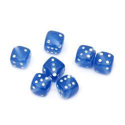 Χάντρες ζάρι 8x8 mm τρύπα 1 mm μπλε / λευκό -50 γραμμάρια ~ 100 τεμάχια