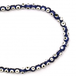 String beads eye blue №1- 6x5 mm- 50 pieces