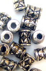 Bead metallized cylinder 8 mm color silver -50 grams
