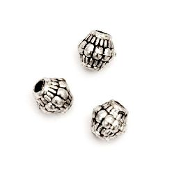 Bead metallic cylinder with black edging 7x7.5 mm hole 2 mm color silver -50 grams ± 245 pieces
