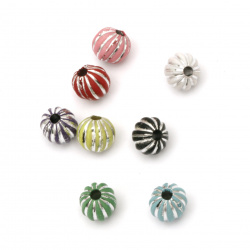 Opaque Acrylic Round Beads with Silver Line, 10 mm hole 3 mm MIX - 50 grams ± 98 pieces