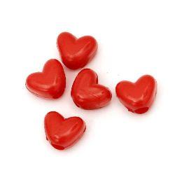 Perlă  tip inimă solidă 12x10x8,5 mm gaură 3,5 mm roșu -50 grame