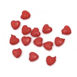 Perlă  inimă solidă 8x9 mm gaură 1,5 mm roșu -50 grame ~ 310 buc