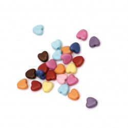Χάντρα πλακέ καρδιά 6x6.5x3 mm τρύπα 1 mm ΜΙΞ -50 γραμμάρια ~ 620 τεμάχια